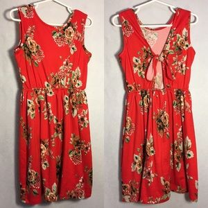 Girls Red Floral Sleeveless Tie Back Dress